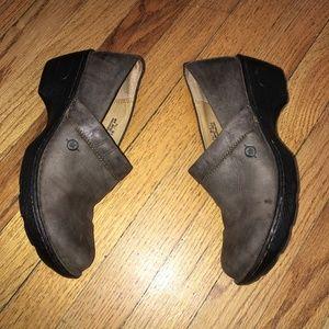 BORN Brown Nubuck Clog Shoes Sz 7.5